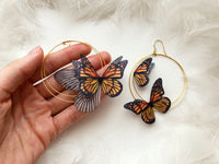 Hoop Earrings with Silk Monarch Butterflies and Butterfly Wing