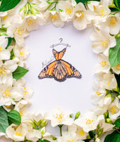3D Illustration with Silk Monarch Butterfly Dress for Boho Chic Home Decor