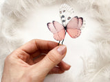 Boho Chic Hair pin with Pink Silk Butterfly