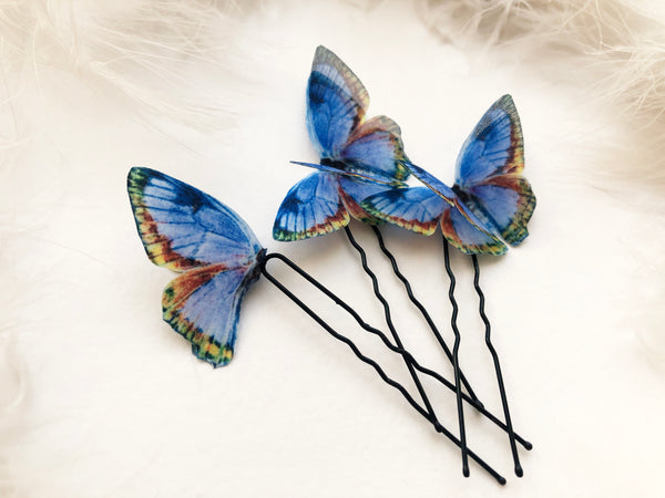 Creative Something Blue Hair Pins with Tender Butterflies for Amazing Hairstyle