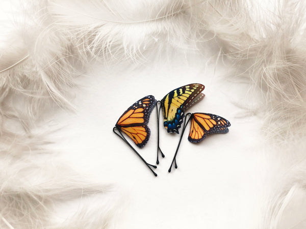 Set of Boho Chic Hairpins with Monarch and Swallowtail Butterflies