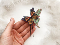 Aesthetic Hair Pin with Monarch Butterfly and Luna Moth wing