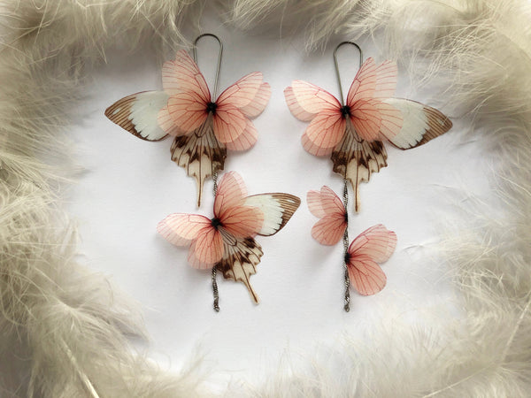 Long Light Weight Earrings with Flamingo Pink Silk Butterflies