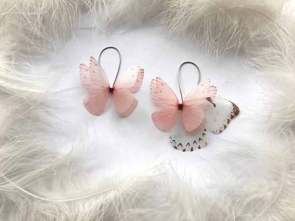 Mega Size Butterfly Earrings with Silk Wings