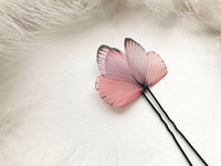 Boho Chic Hair pin with Blush Pink Butterfly Wings
