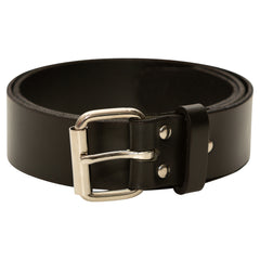 HIGH QUALITY LEATHER BELTS, MADE IN THE USA - SUPER THICK AND DURABLE (BLACK)