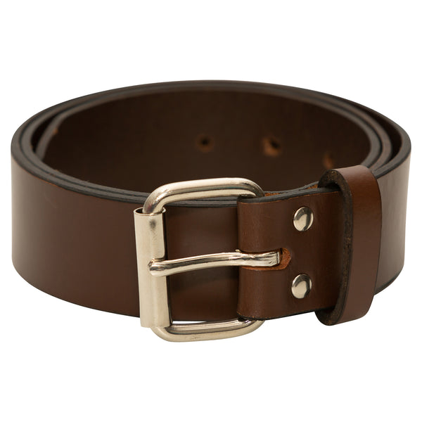 HIGH QUALITY LEATHER BELTS, MADE IN THE USA - SUPER THICK AND DURABLE - (BROWN)