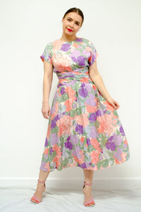 80s Floral Silk Dress by Maggy London / XS-S