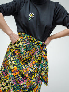Vintage 60s Black Floral Mod Dress / S-M
