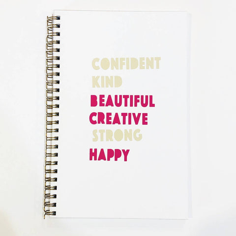 """Confident Kind Beautiful"" Handmade Notebook"
