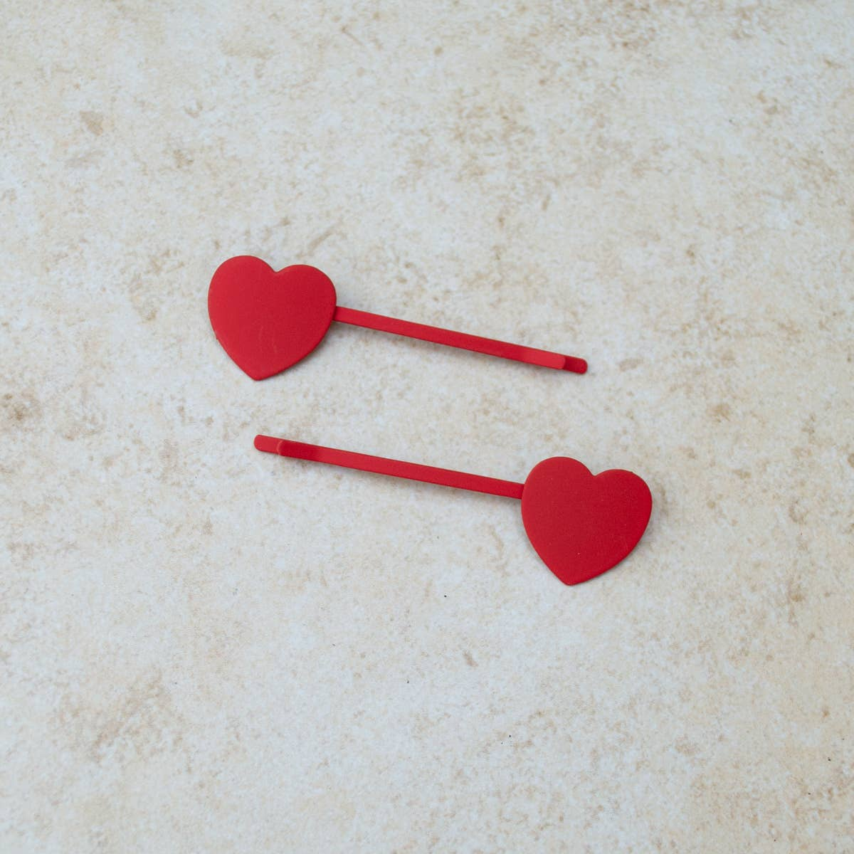 Red Mini Heart Hair Barrette Set
