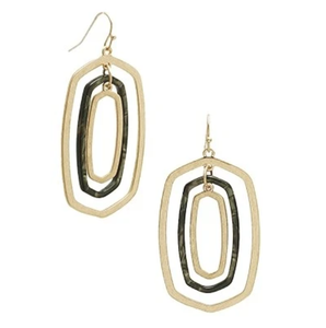 Gold & Acrylic Oval Drop Earrings