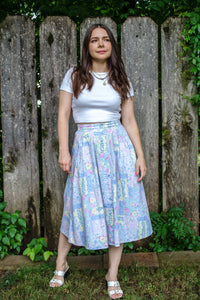 Vintage 90s Floral Patchwork Skirt / XS-S