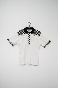 80s White Gingham Embellished Polo Top / S-M