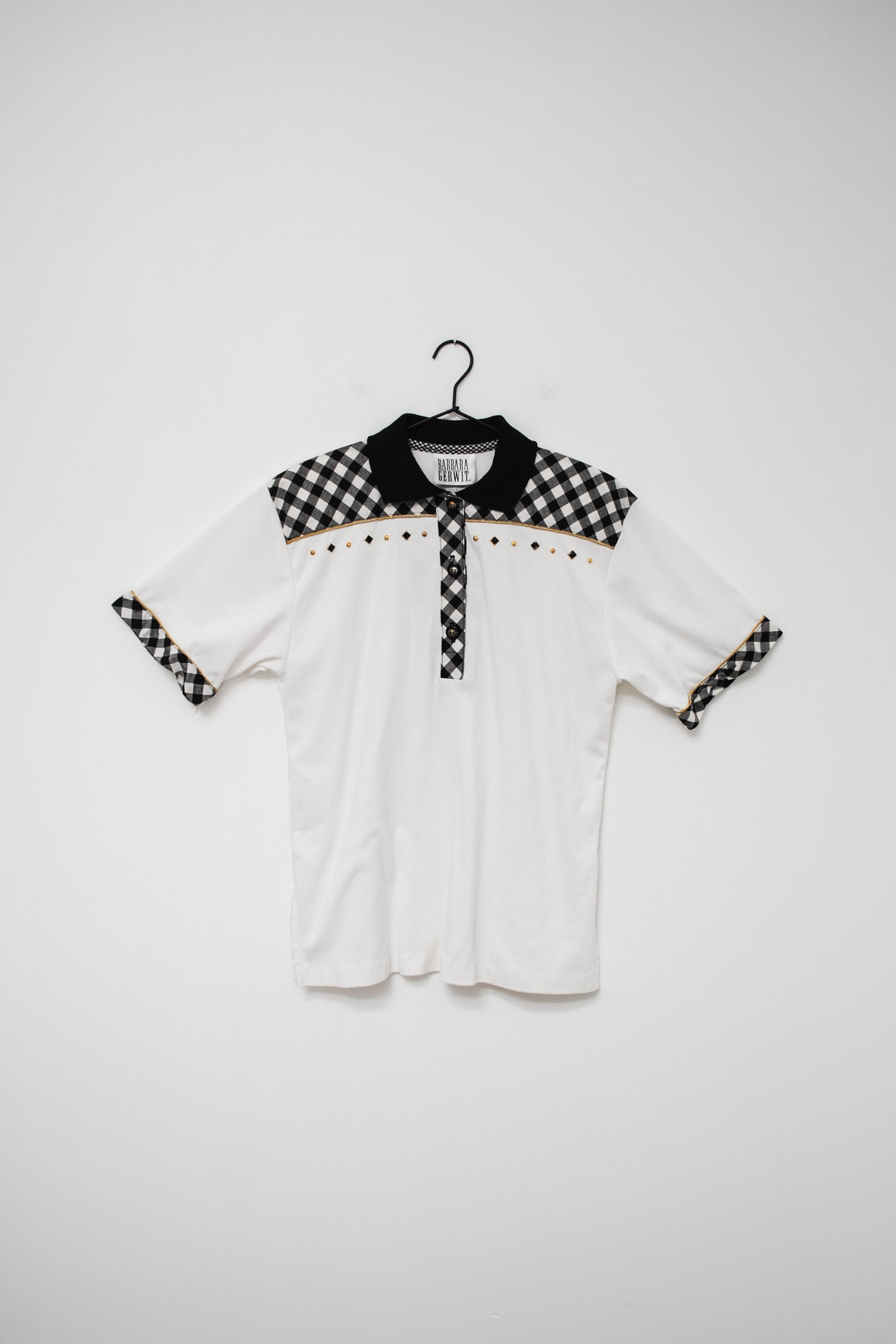 Vintage 80s White Gingham Embellished Polo Top / S-M