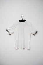 Load image into Gallery viewer, 80s White Gingham Embellished Polo Top / S-M