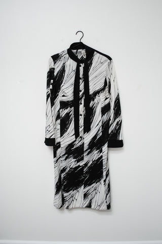 70s Black and White Abstract Dress / M
