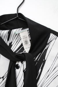 Vintage 70s Black and White Abstract Dress / M