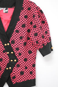 Vintage 80s Pink Dot Jacket by Bellino /  M
