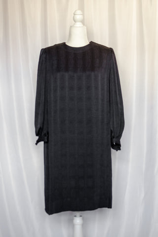 60s-70s Black Shift Dress / S-M