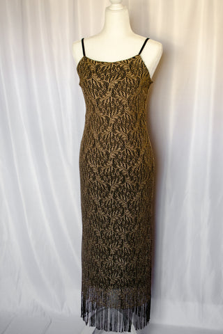 80s Gold Knit Lace Dress / XS-M