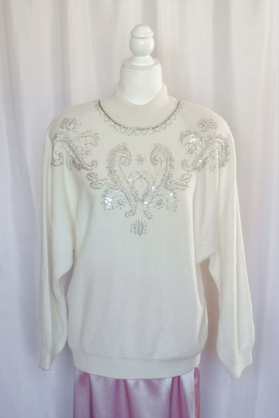 80s White Embellished Sweater / S-L
