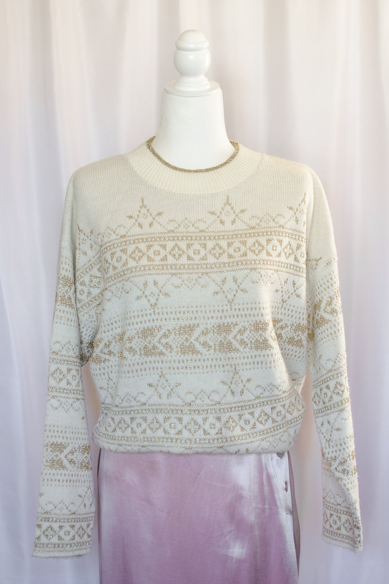 80s Cream and Gold Lurex Sweater / S-L