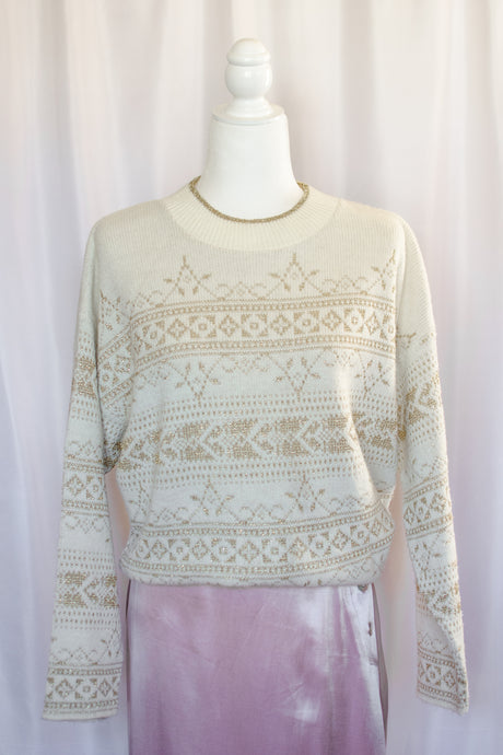 Vintage 80s Cream and Gold Lurex Sweater / S-L