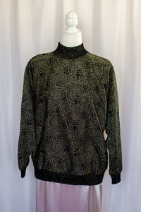 Vintage 80s Black and Gold Lurex Sweater / S-M