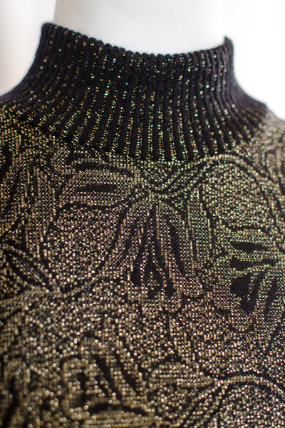 80s Black and Gold Lurex Sweater / S-M