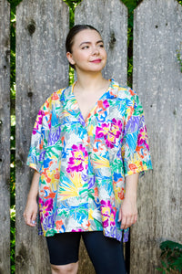 Vintage 80s Bold Floral Silk Shirt / S-XL
