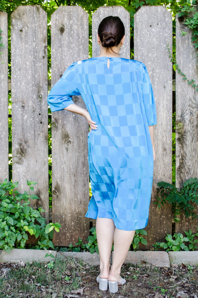 80s Bright Blue Shift Dress / S-M