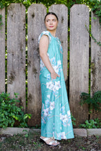 Load image into Gallery viewer, Vintage 60s-70s Teal Hawaiian Maxi Dress / S