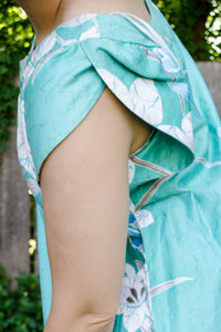 Vintage 60s-70s Teal Hawaiian Maxi Dress / S