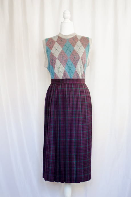 Vintage 80s Purple Plaid Skirt / XS-S