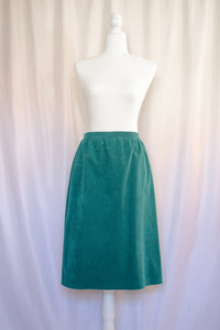 60s-70s Dark Teal Suede Skirt / S-M
