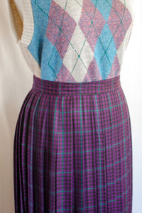 80s Purple Plaid Skirt / XS-S