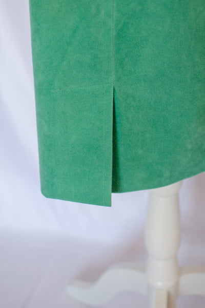 70s Peacock Green Ultra Suede Skirt / S
