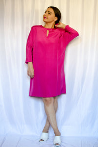 60s-70s Hot Pink Shift Dress / S-M