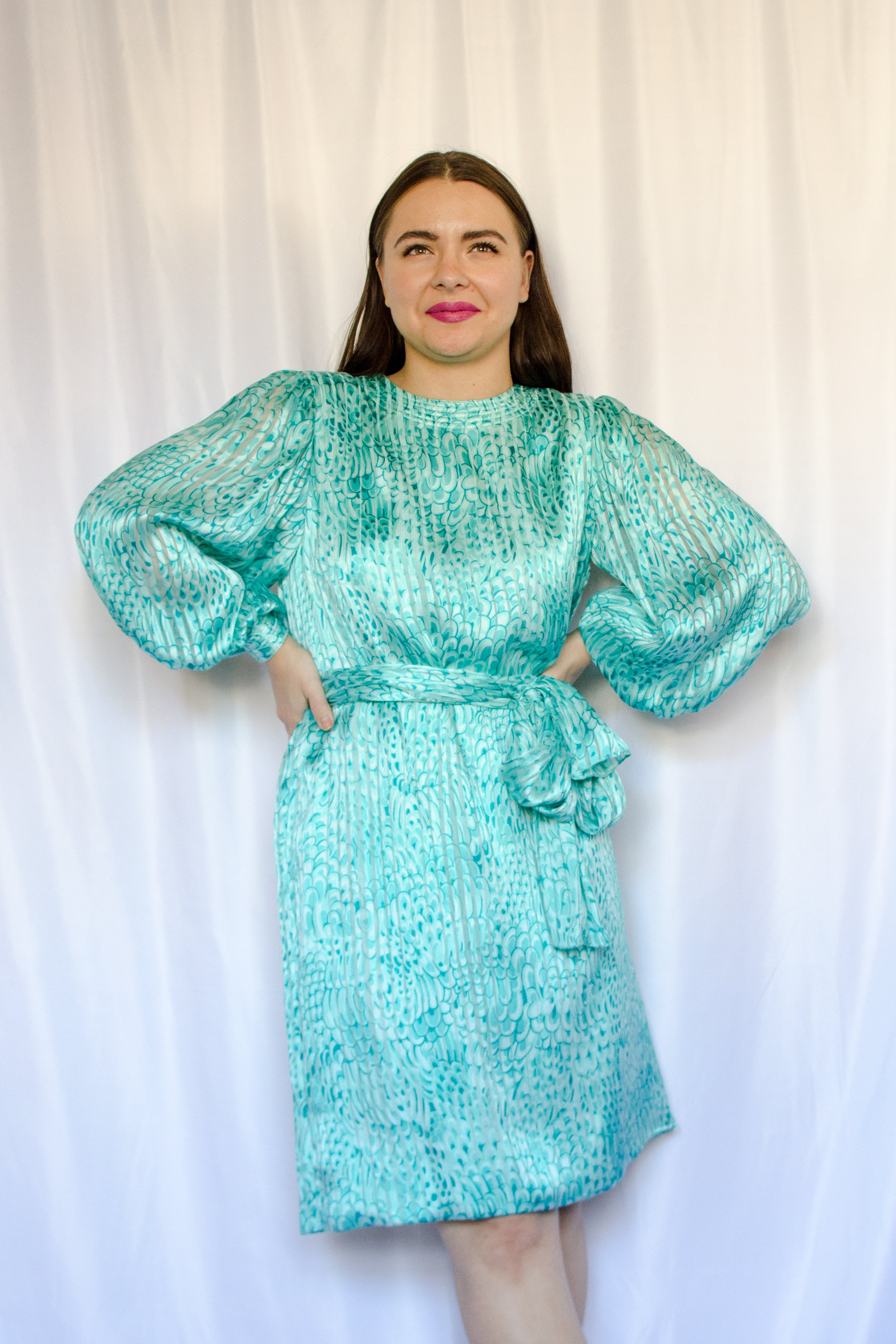 Vintage 60s-70s Teal Feather Print Silk Dress / S