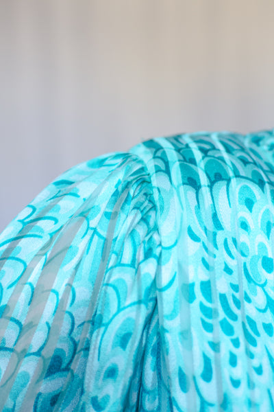 60s-70s Teal Feather Print Silk Dress / S
