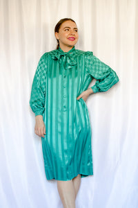 80s Teal Jacquard Shirt Dress / S