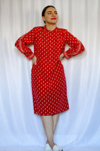70s Red Triangle Print Silk Dress / S