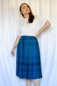 70s-80s Blue Plaid Skirt / XS-S
