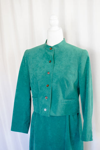 70s Dark Teal Ultra Suede Jacket / XS-S