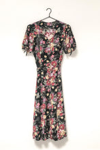 Load image into Gallery viewer, Vintage 80s Black Floral Dress by Breli Originals / M-L