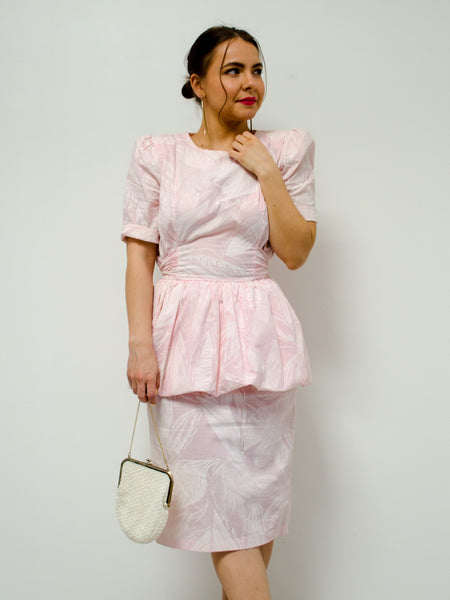 Vintage Pink Floral Peplum Dress / S