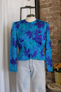 1980s Bright Blue Tropical Floral Silk Shirt / Small