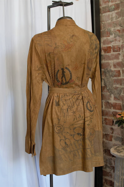 Vintage Brown Cowgirl Printed Suede Shirt or Dress or Jacket / Small - Large