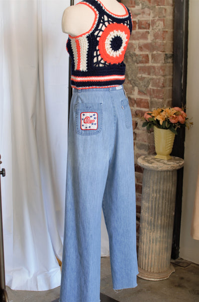 Vintage Olympic Light Wash Wide Leg Jeans / W: 32""